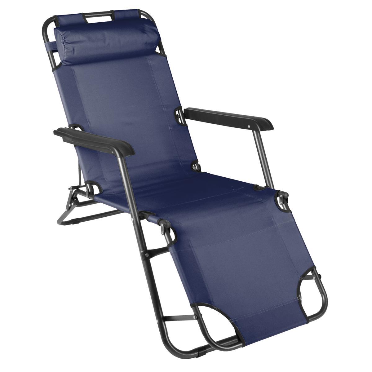 klappbare Sonnenliege Relaxliege Liegestuhl navy Klappliege Stahl