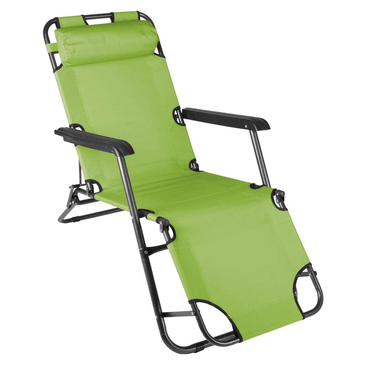 klappbare Sonnenliege Relaxliege Liegestuhl hellgrün Klappliege Stahl