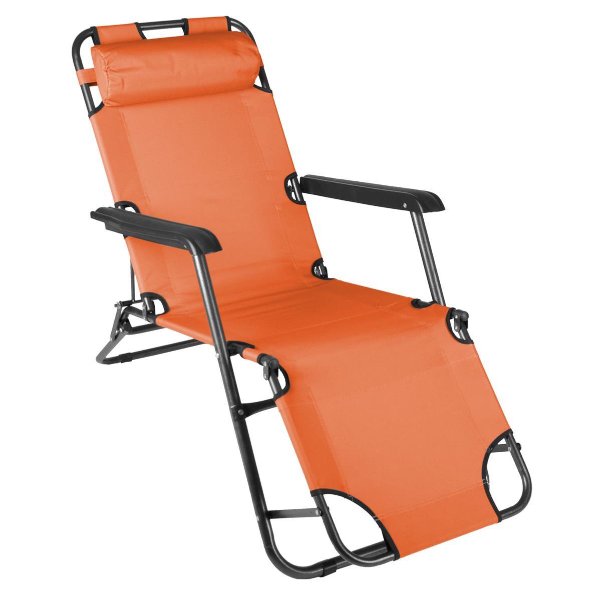 klappbare Sonnenliege Relaxliege Liegestuhl orange Klappliege Stahl