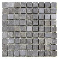 DIVERO 1 Fliesenmatte Naturstein Mosaik aus Marmor grau 29x29cm