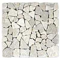 DIVERO 1 Fliesenmatte Naturstein Mosaik aus Marmor creme 30x30cm