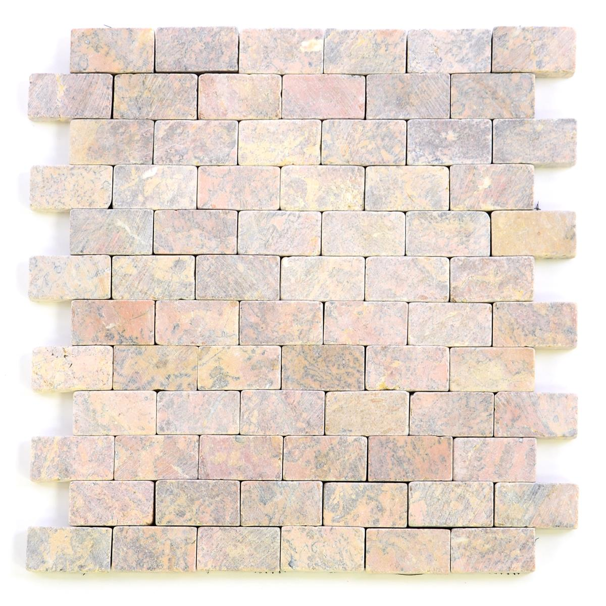 DIVERO 1 Fliesenmatte Stein Mosaik Marmor Wand Boden zartrosa 29x32cm