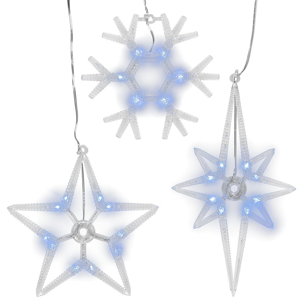 3er Set Fensterbilder 24 LED Stern Polarstern Schneeflocke Weihnachtsbeleuchtung