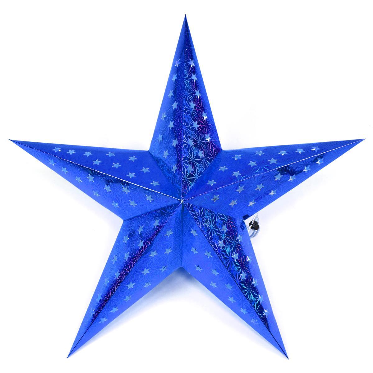 Papierstern 3D 10 LED blau Weihnachtsstern Faltstern Batterie mit Timer 5 Zacken