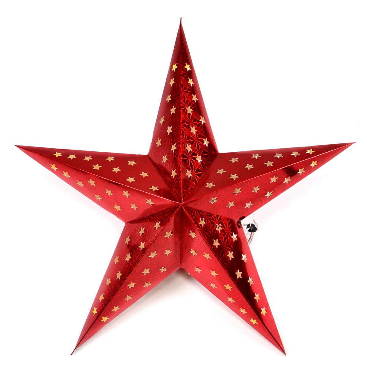 Papierstern 3D 10 LED rot Weihnachtsstern Faltstern Batterie mit Timer 5 Zacken