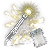 30 LED Lichterkette mit Timer warm weiß transparentes Kabel Batterie Weihnachten