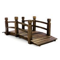 Holzbrücke Teichbrücke mit Geländer braun 150x67x55 cm Gartenbrücke Zierbrücke