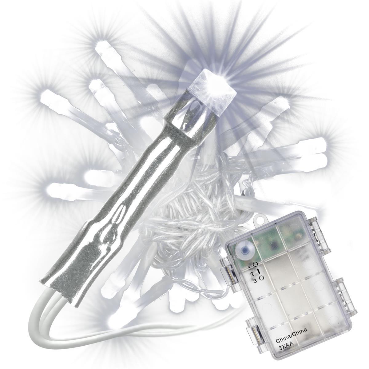 30 LED Lichterkette mit Timer weiß transparentes Kabel Batterie Weihnachten