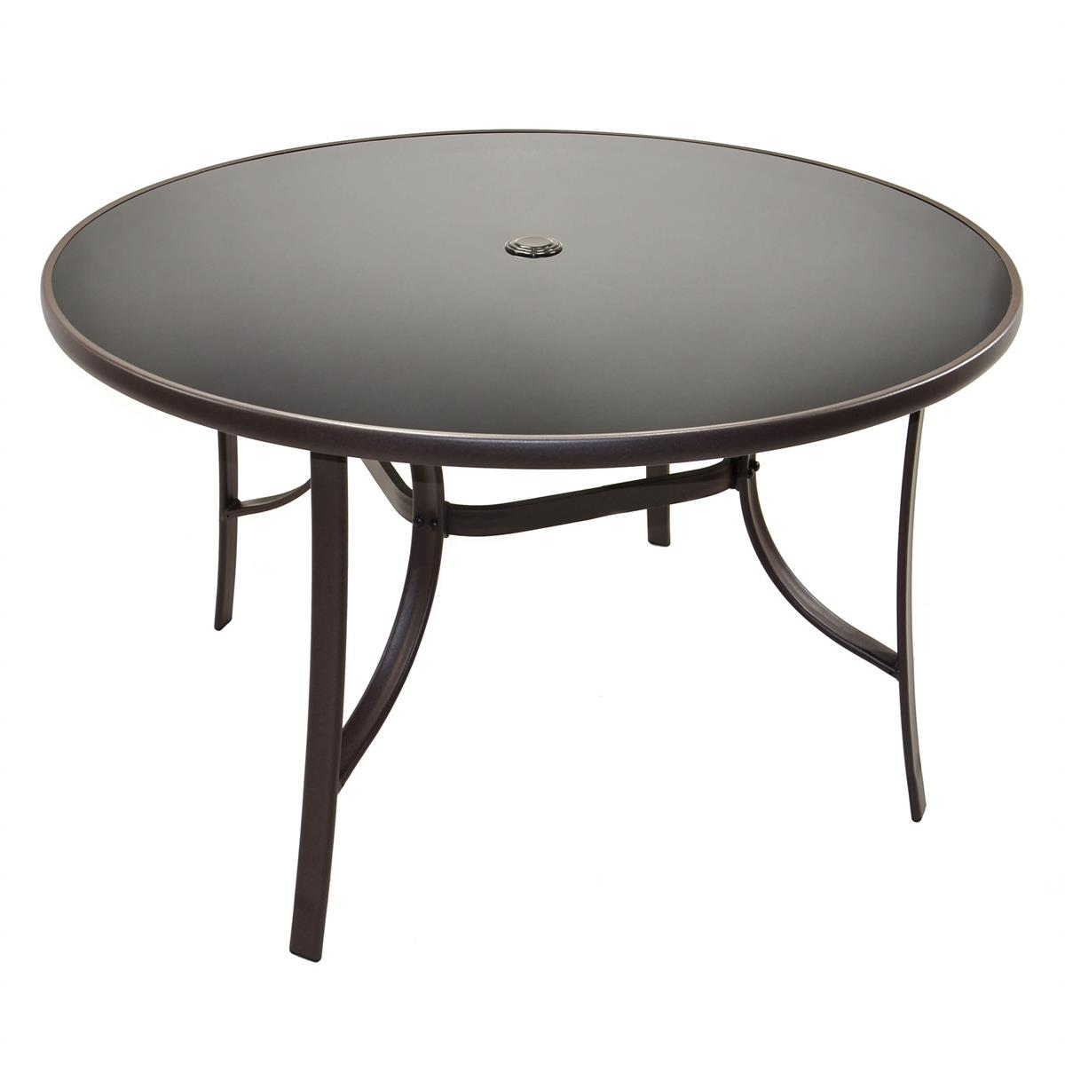 Gartentisch mit Glasplatte mit Schirmloch braun Glastisch Durchmesser 120 cm
