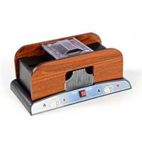 Elektrische Kartenmischmaschine Poker Kartenmischer Holzoptik 2 Decks Batterie