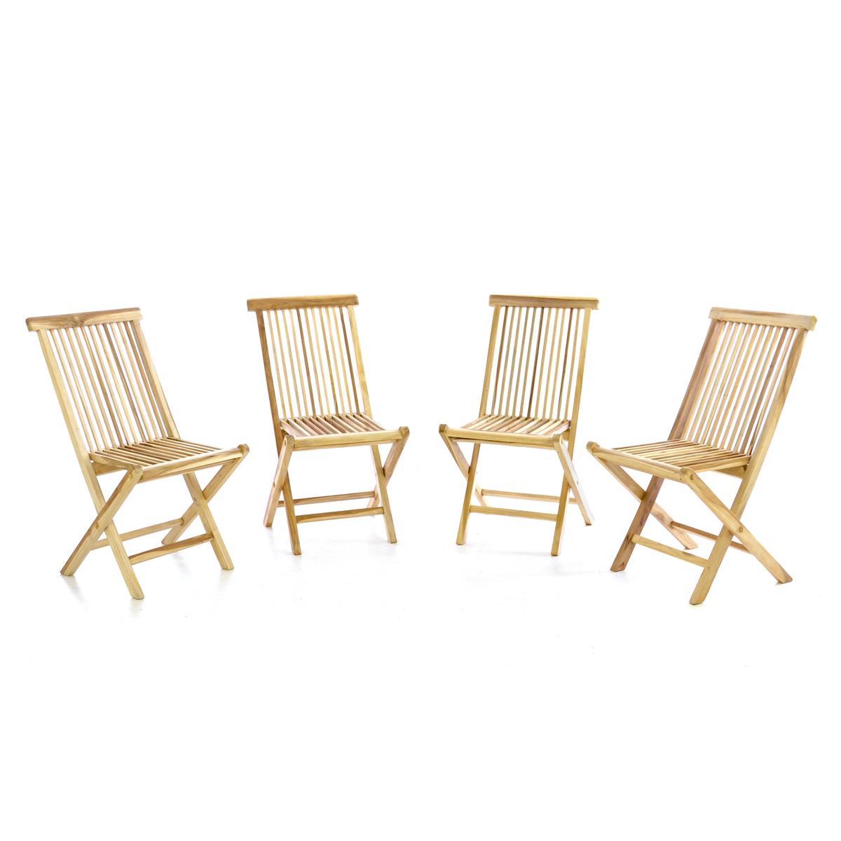 DIVERO 4er Set Gartenstuhl Teak Holz unbehandelt klappbar Stühle Holzstuhl natur