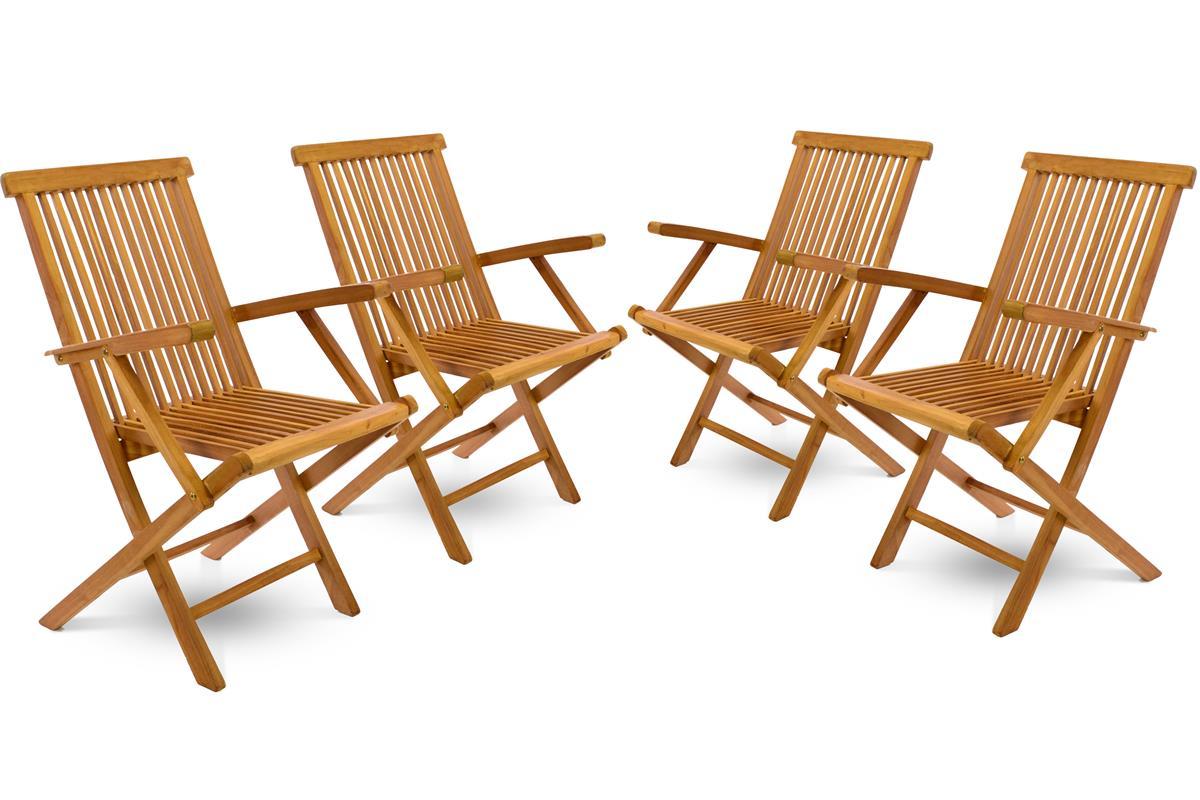 DIVERO Gartenstuhl massiv mit Armlehne klappbar 4er Set Teak Holz behandelt