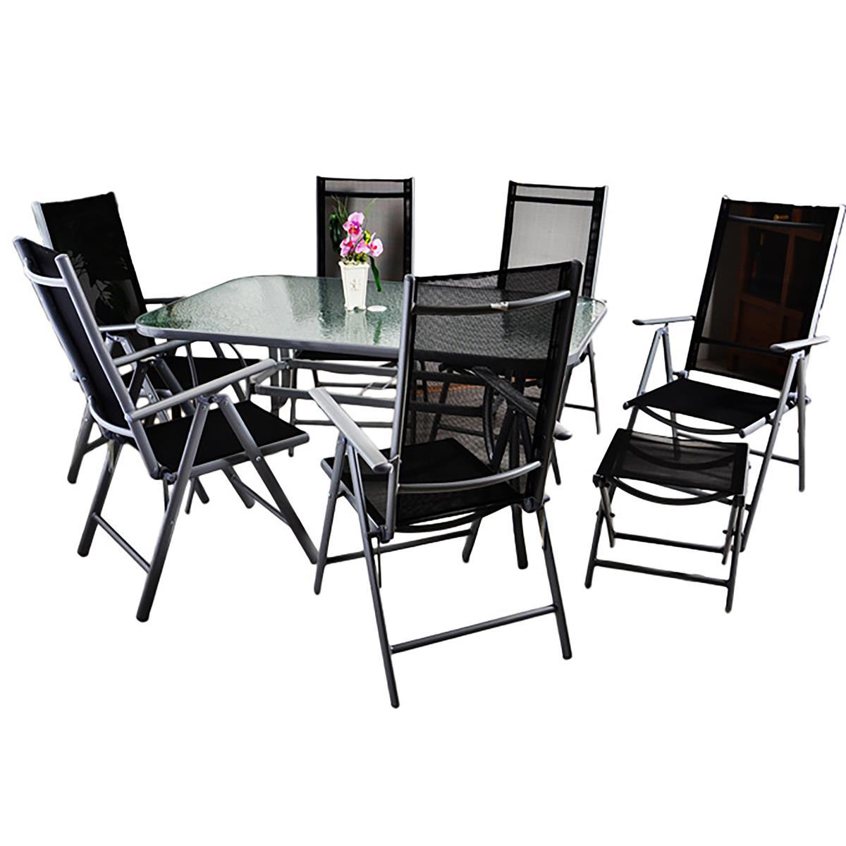 9tlg. Gartengarnitur 6 Klappstühle 2 Hocker 1 Glastisch Sitzgruppe Alu schwarz