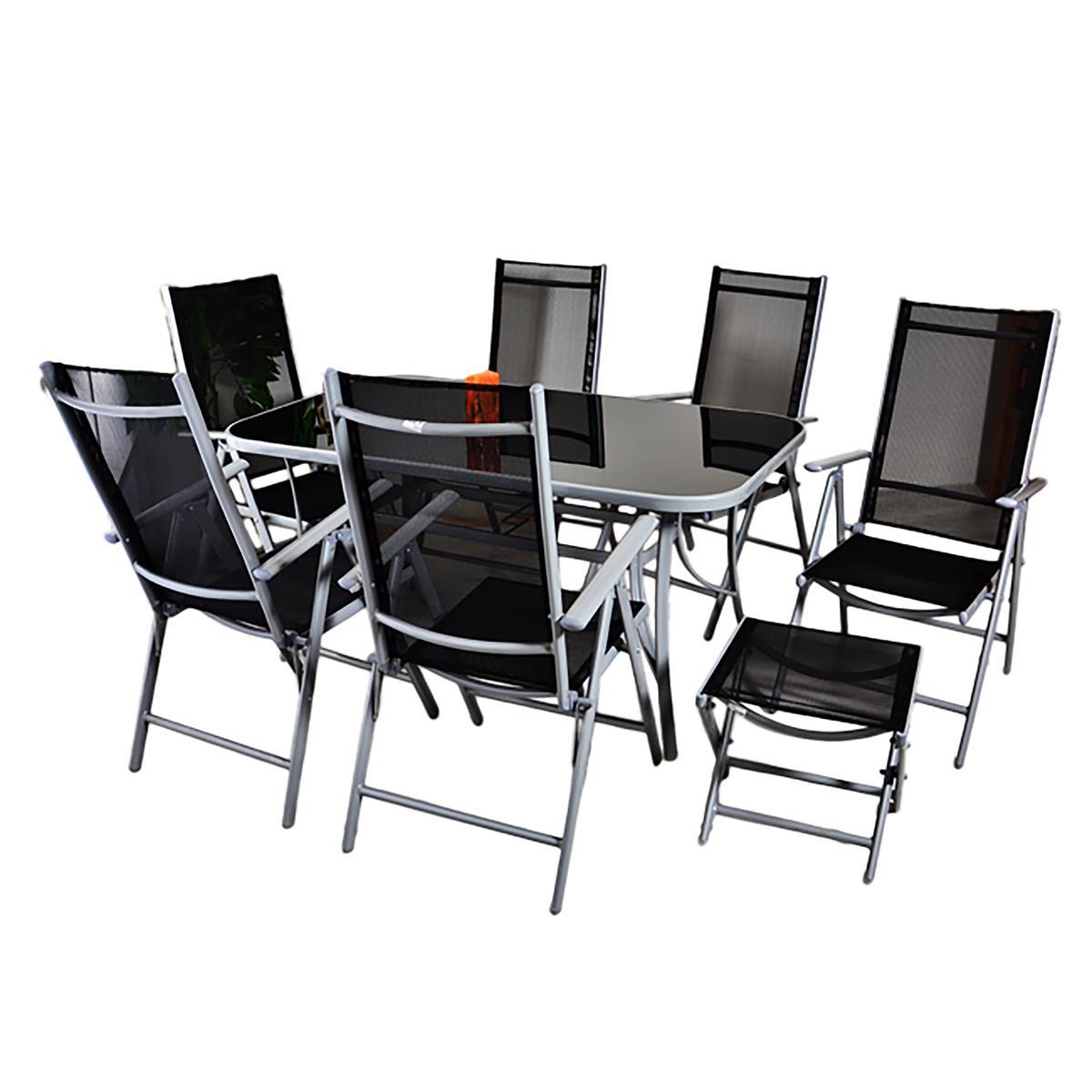 9tlg. Gartengarnitur Sitzgruppe Garnitur Gartenstühle 1 Tisch 6 Stühle 2 Hocker