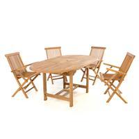 DIVERO Set Gartenmöbel Sitzgruppe Esstisch ausziehbar Teak Holz behandelt