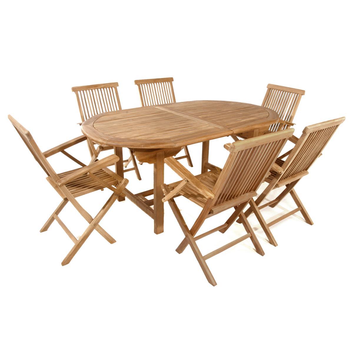 DIVERO Set Gartenmöbel Sitzgruppe Tisch ausziehbar Stühle Teak Holz behandelt