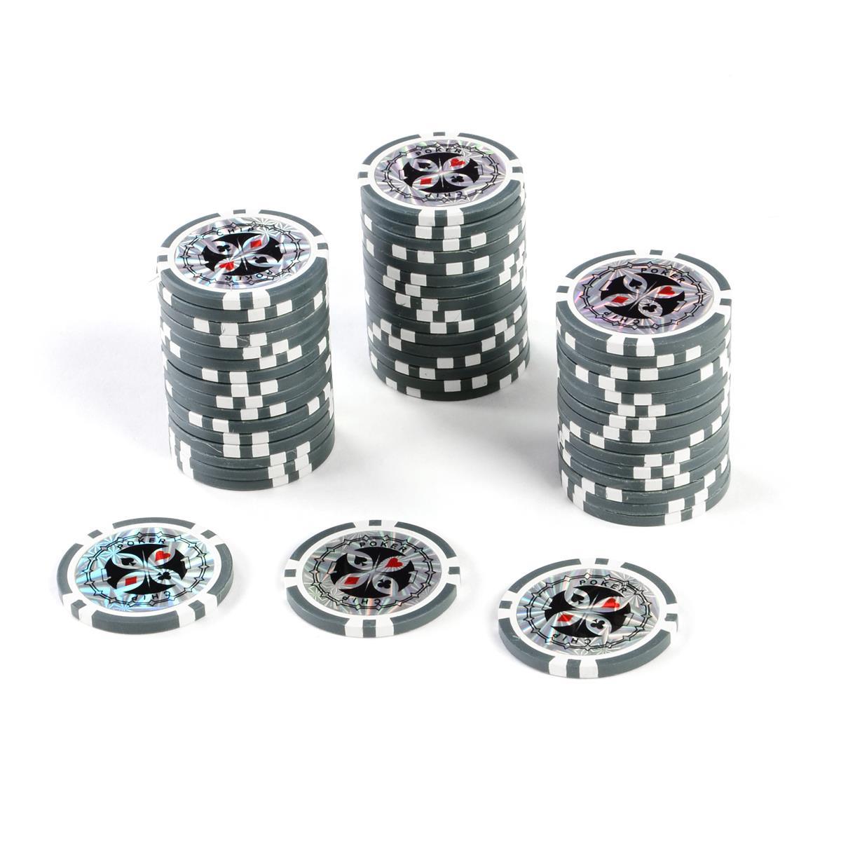 50 Poker-Chips Wert 1 Laserchip 12g Metallkern ergänzend zum Pokerkoffer