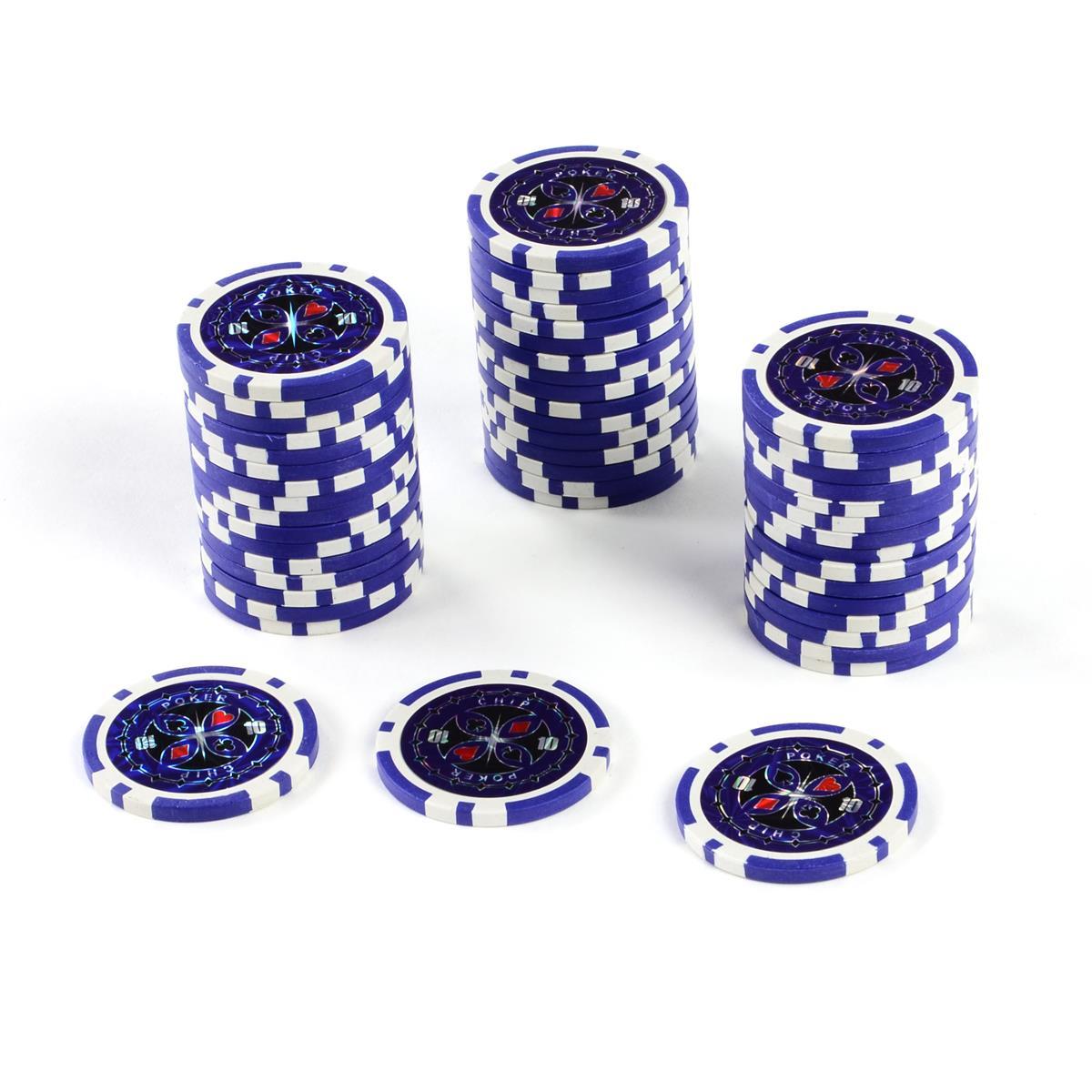 50 Poker-Chips Wert 10 Laserchip 12g Metallkern ergänzend zum Pokerkoffer
