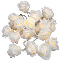Rosenblütenkette mit 20 LED warm weiß Batterie transparentes Kabel Lichterkette