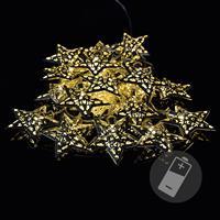 """20 LED Lichterkette """"Metallsterne"""" silber warm weiß Weihnachtsdeko Sternkette St"""