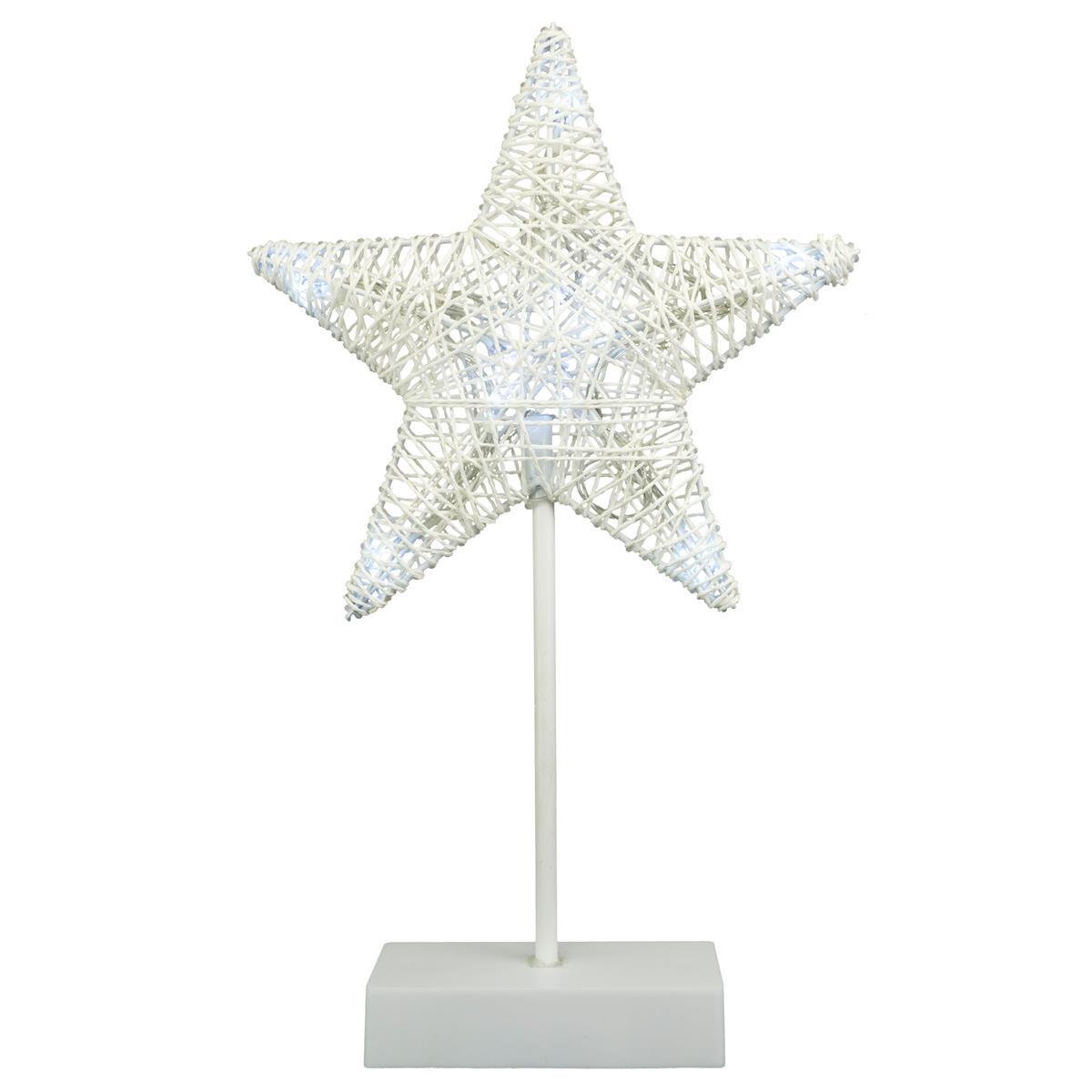 10 LED Dekoleuchte Stern in Rattanoptik mit Sockel weiß Weihnachtsstern 40 cm