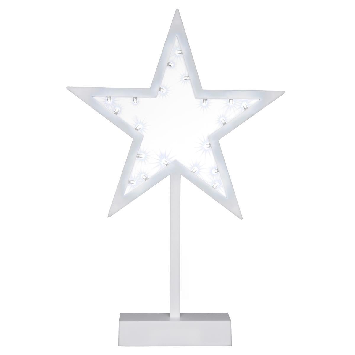 20 LED Dekoleuchte Stern weiß Weihnachtsstern Dekostern 38 cm Timer Batterie