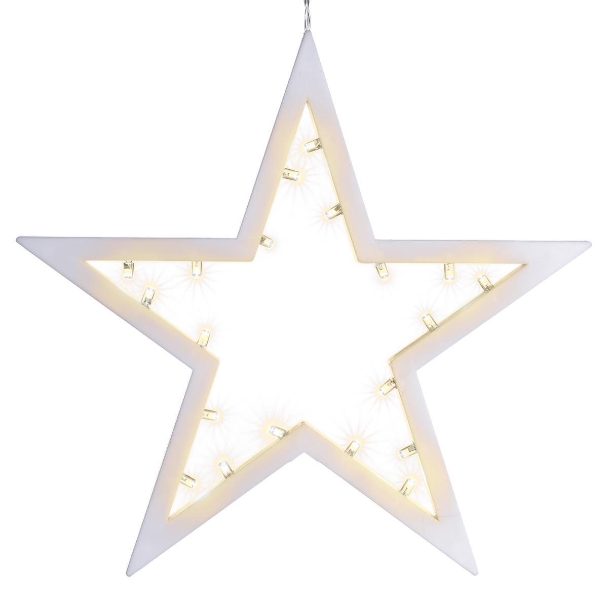 20 LED Dekoleuchte Stern warm weiß Weihnachtsstern Lichterstern Dekostern 25,5cm
