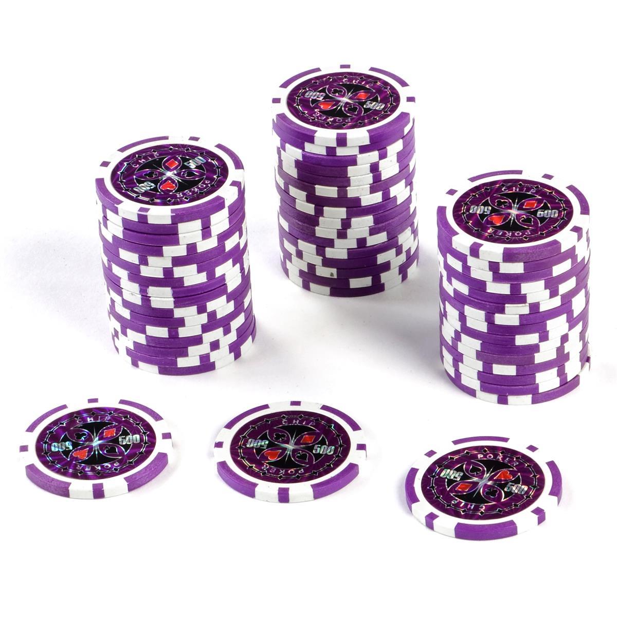 50 Poker-Chips Wert 500 Laserchip 12g Metallkern ergänzend zum Pokerkoffer