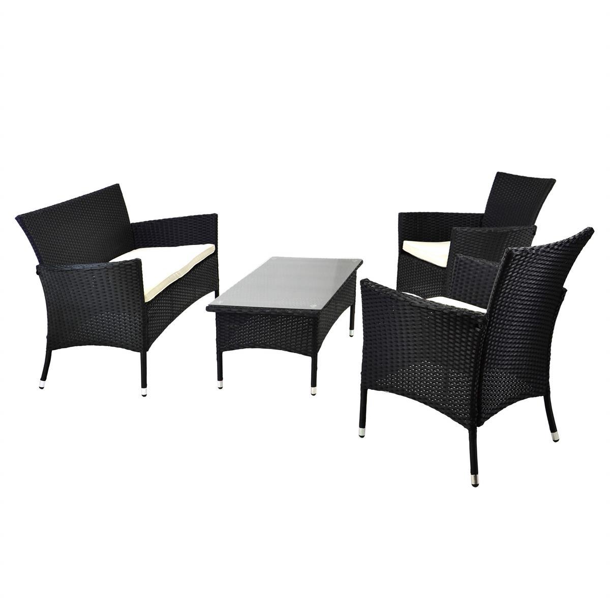 Poly Rattan Set 4tlg Glastisch Weiß Garnitur Gartenmöbel Sitzgruppe