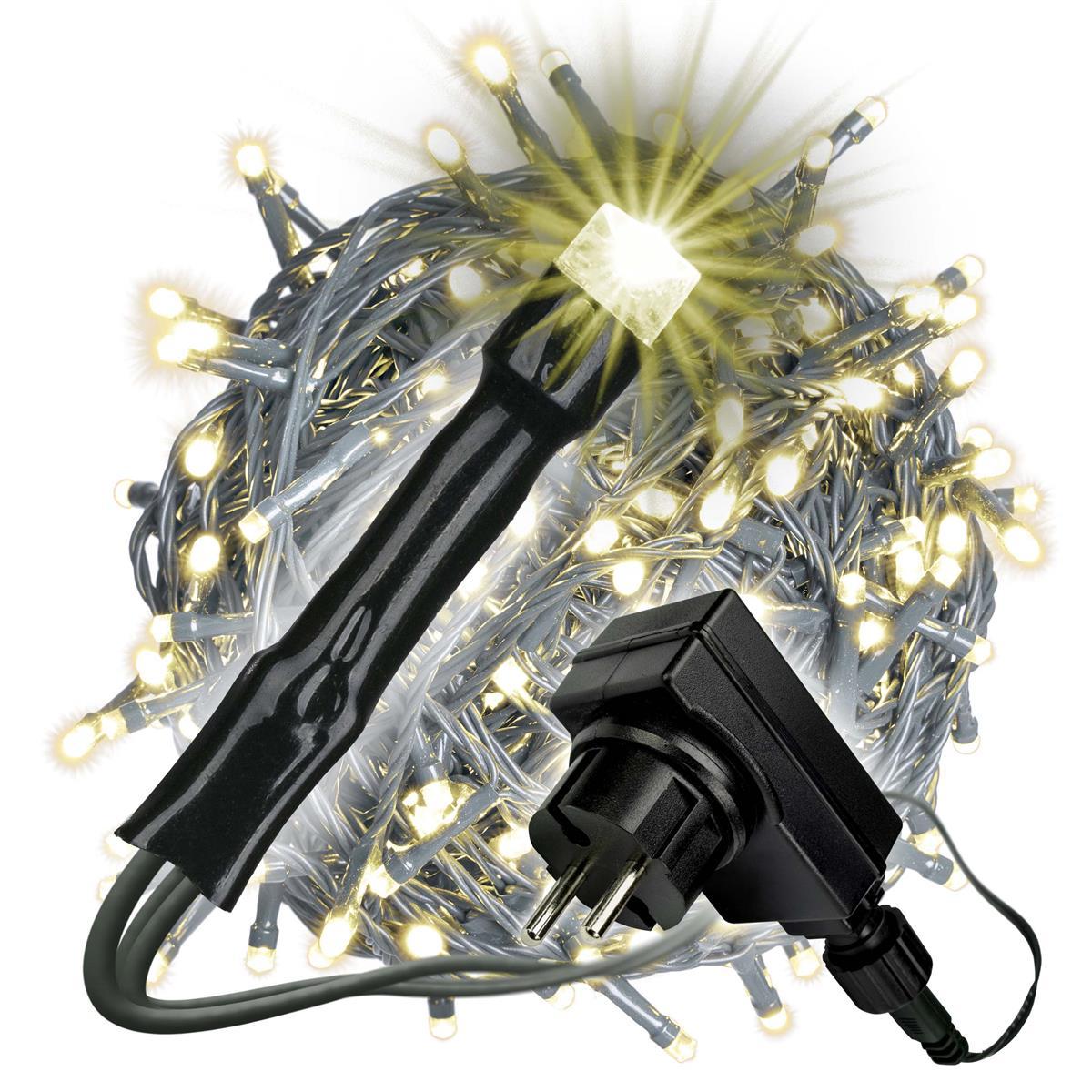 400 LED Lichterkette mit Trafo Timer warm-weiß Außen grünes Kabel Weihnachten