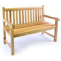 DIVERO 2-Sitzer Gartenbank Parkbank hochwertig massiv Teak Holz natur 120 cm