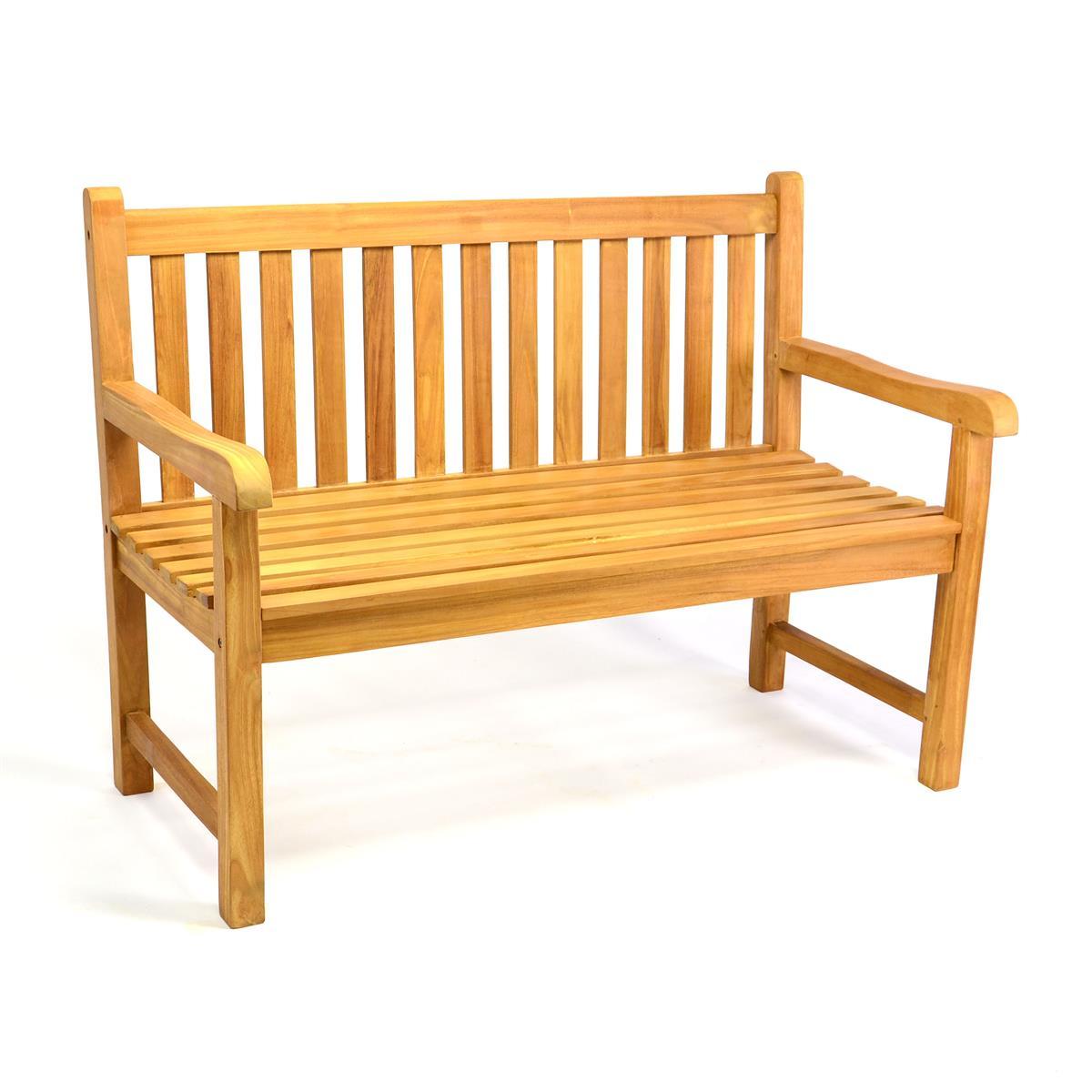 DIVERO 2-Sitzer Gartenbank Parkbank hochwertig Teak Holz behandelt 120cm