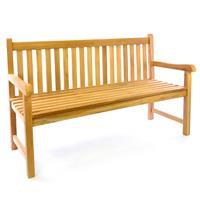 DIVERO 3-Sitzer Gartenbank Parkbank hochwertig Teak Holz A++ natur 150cm