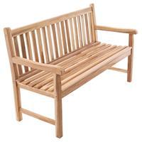 DIVERO 3-Sitzer Gartenbank Parkbank hochwertig massiv Teak Holz natur 150 cm