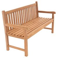 DIVERO 3-Sitzer Gartenbank Parkbank hochwertig Teak Holz behandelt 150cm