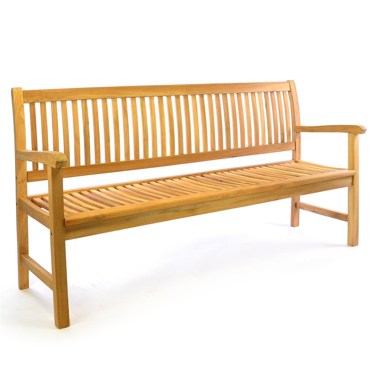 DIVERO 3-Sitzer Gartenbank Parkbank hochwertig massiv Teak Holz natur 180cm