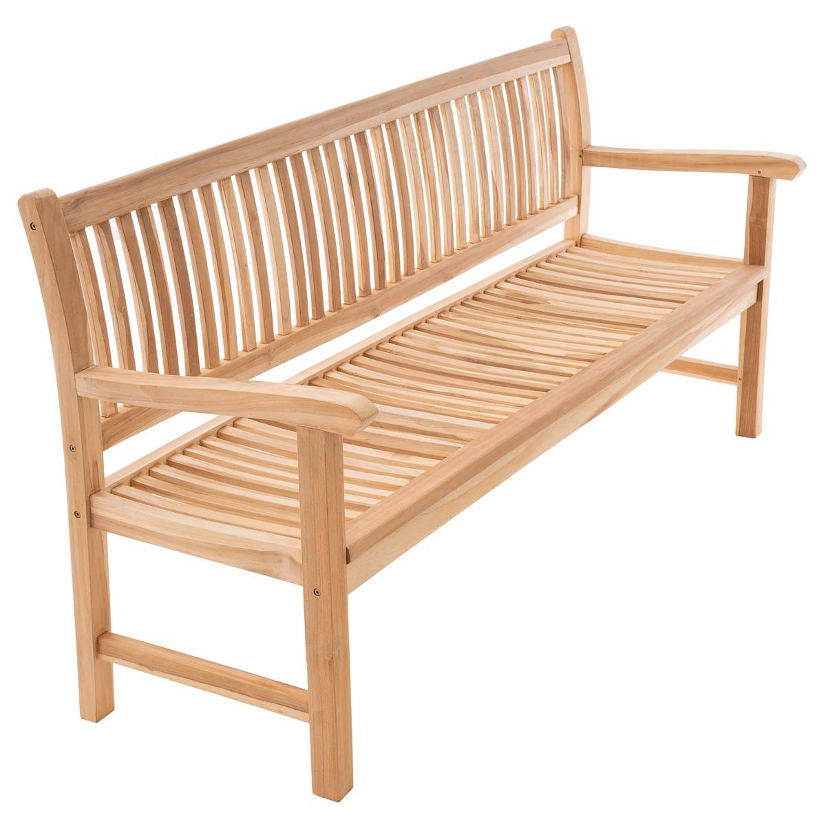 DIVERO 3-Sitzer Gartenbank Parkbank hochwertig massiv Teak Holz natur 180 cm