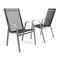 2er Set Gartenstuhl Stapelstuhl Hochlehner - Rahmen grau - Textilene schwarz