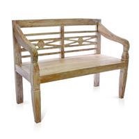 DIVERO 2-Sitzer Gartenbank massiv stabil antik Handarbeit Teak Holz 115cm