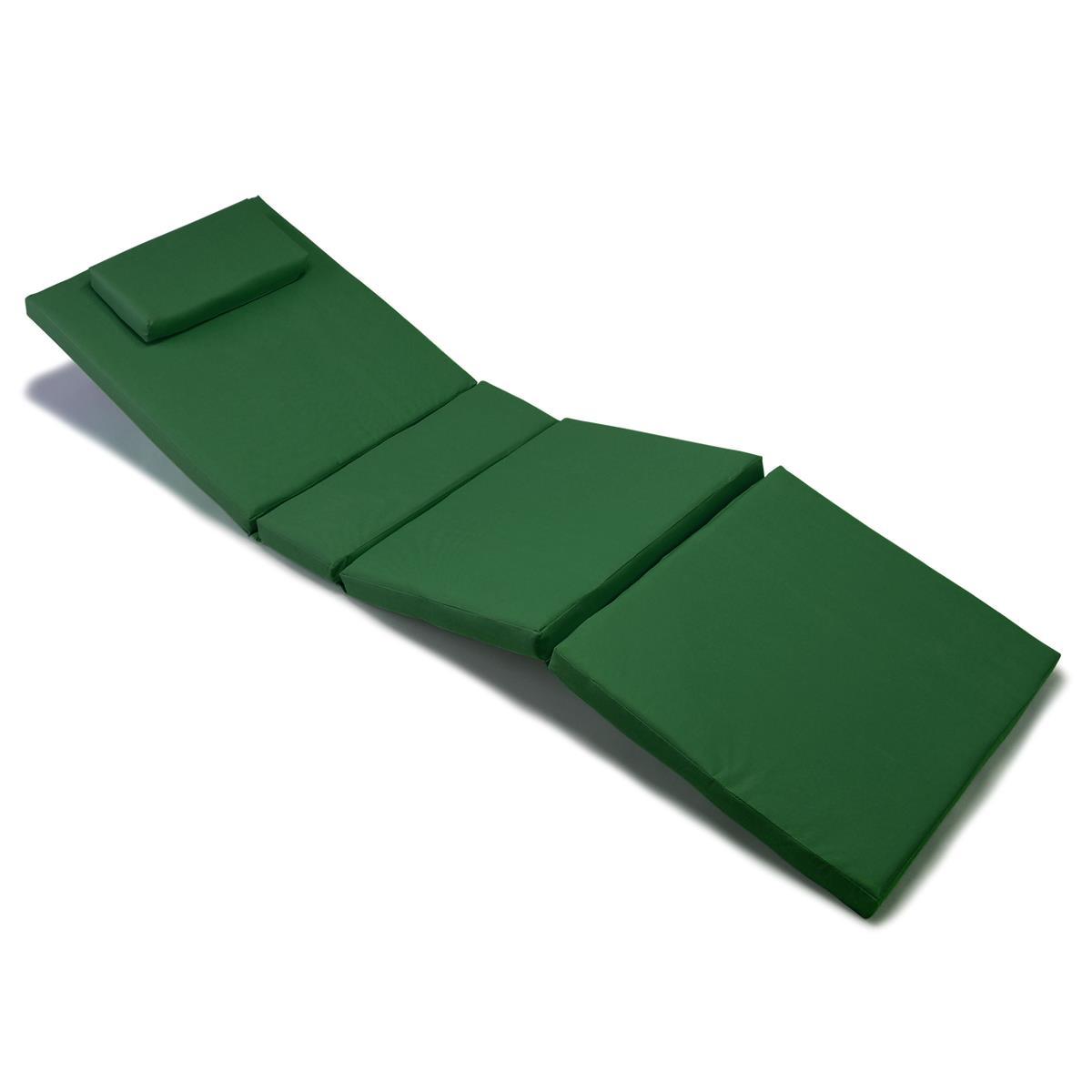 Divero Liegenauflage Polster Gartenliege 4 Segmente Kopfkissen hochwertig grün