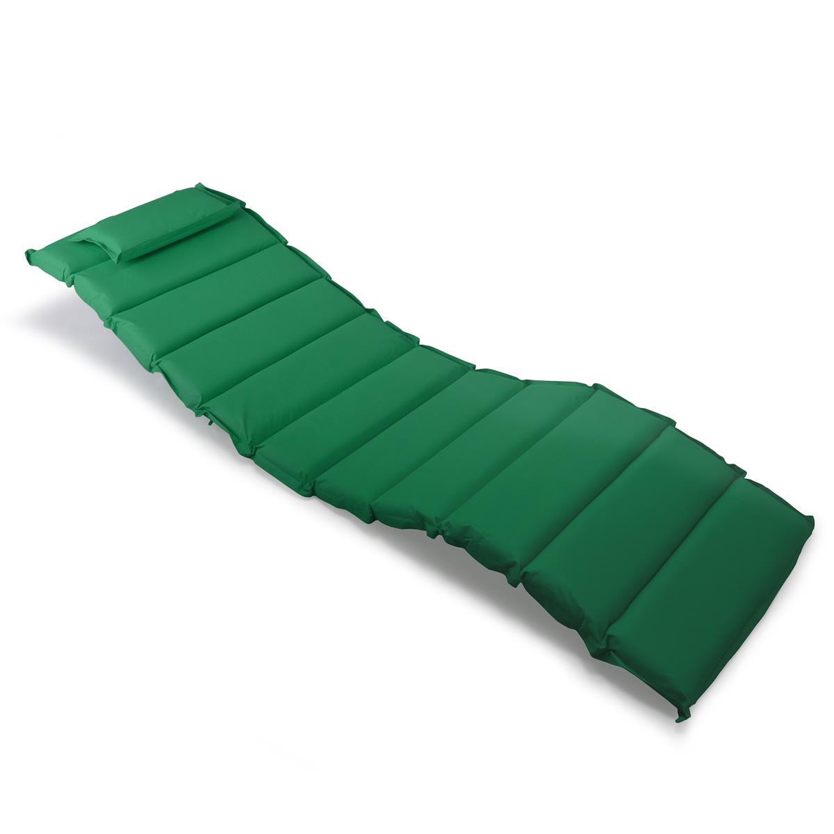 DIVERO Liegenauflage Polster Kopfkissen für Sauna Garten Terrasse gesteppt grün