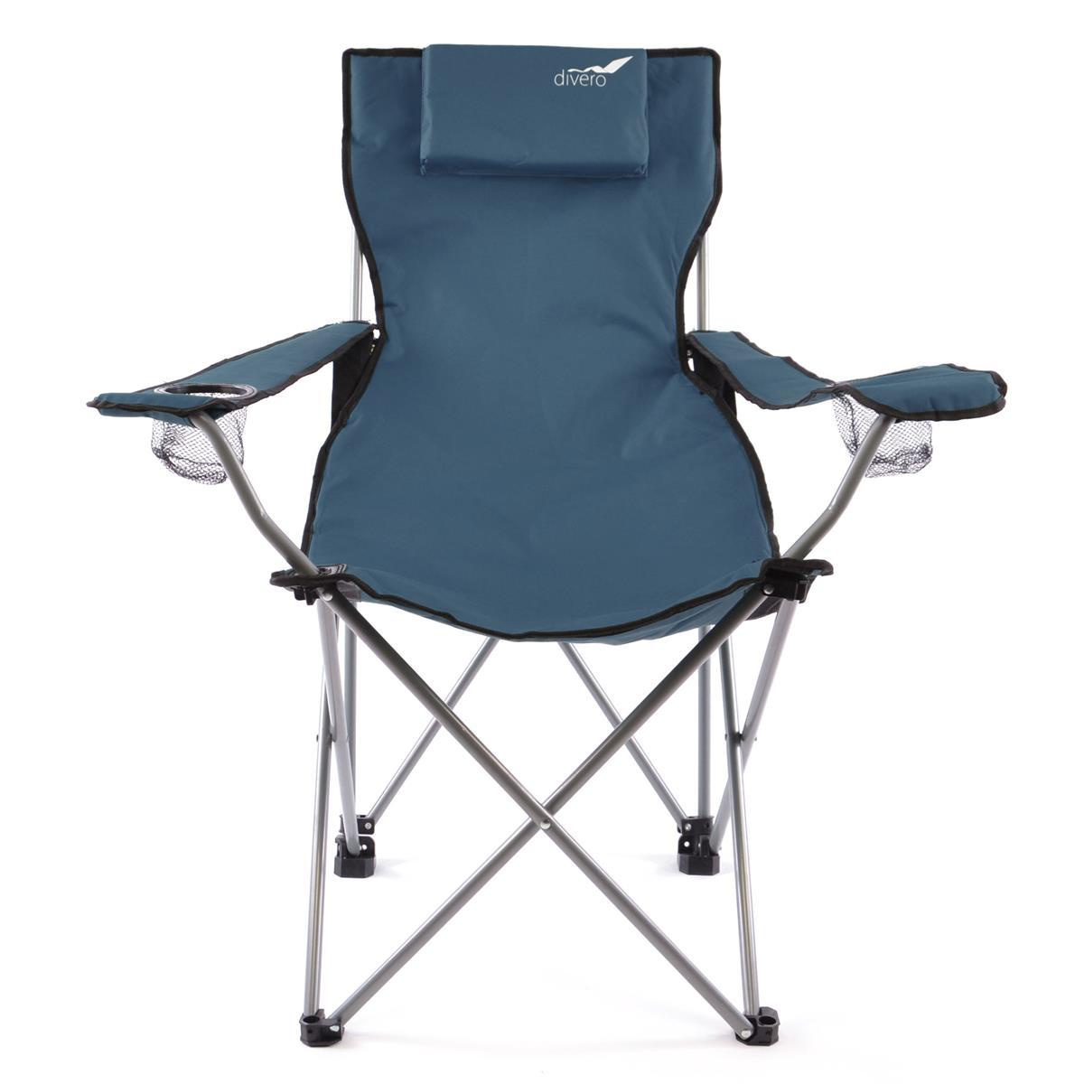 Divero Camping Stuhl Faltstuhl Angelstuhl dunkelblau Kopfkissen Getränke robust