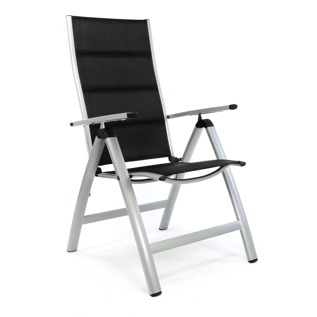 Deluxe Alu Klappstuhl gepolstert - Textilene schwarz - Rahmen hellgrau - Camping
