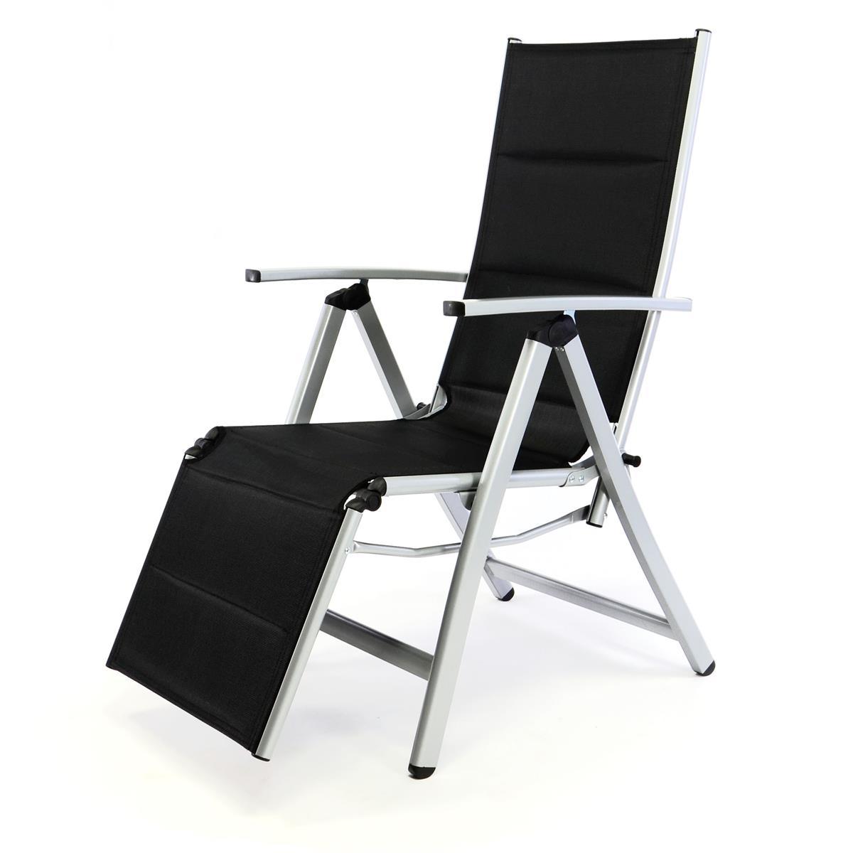 DELUXE Alu Liegestuhl Klappstuhl gepolstert mit Fußstütze Sonnenliege schwarz