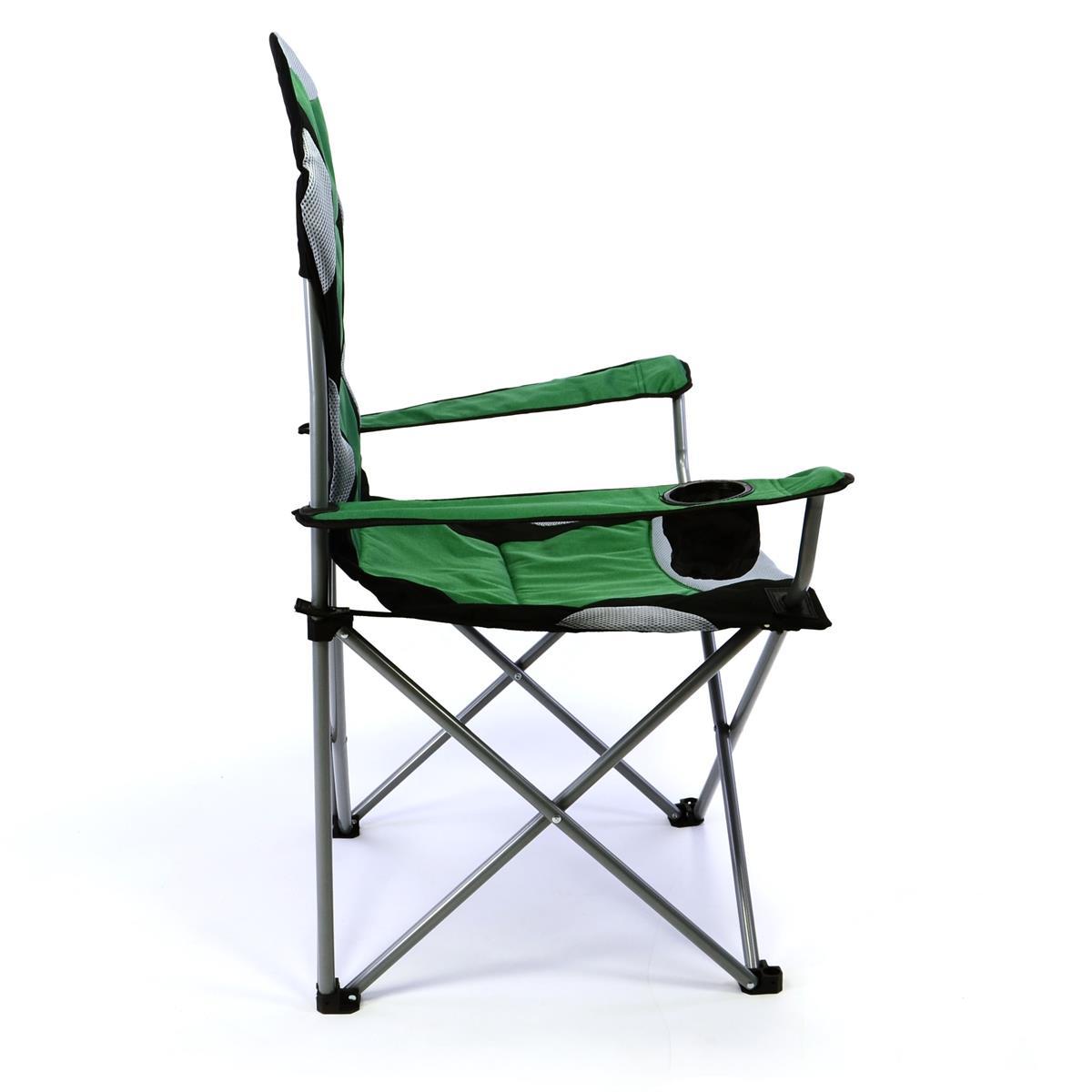 Divero Deluxe Campingstuhl grün schwarz Faltstuhl Angelstuhl gepolstert Tasche