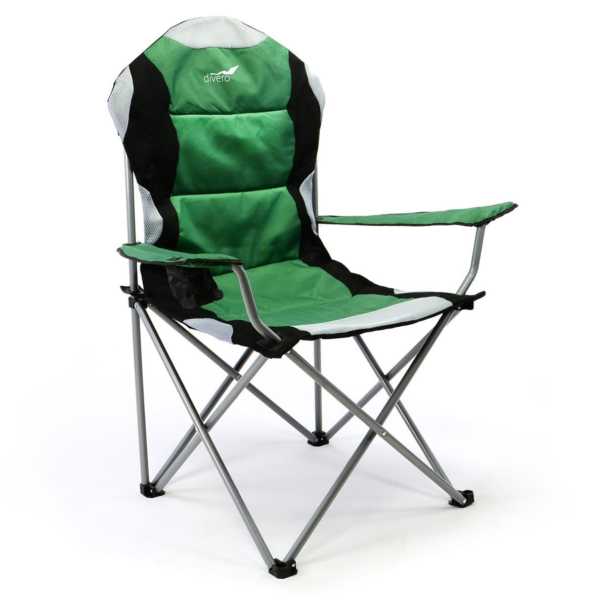 Divero Deluxe Campingstuhl grün schwarz Faltstuhl Angelstuhl gepolstert
