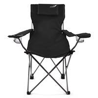 Divero Camping Stuhl Faltstuhl Angelstuhl schwarz Kopfkissen Getränke robust