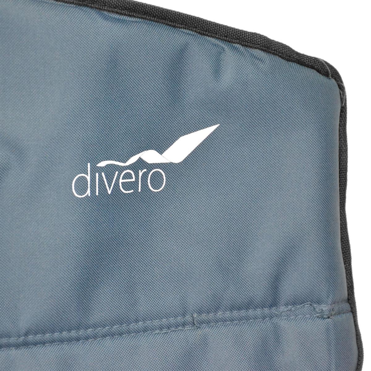 DIVERO Faltstuhl XL mit Armlehne dunkelblau Getränkehalter extra breit bis 160kg