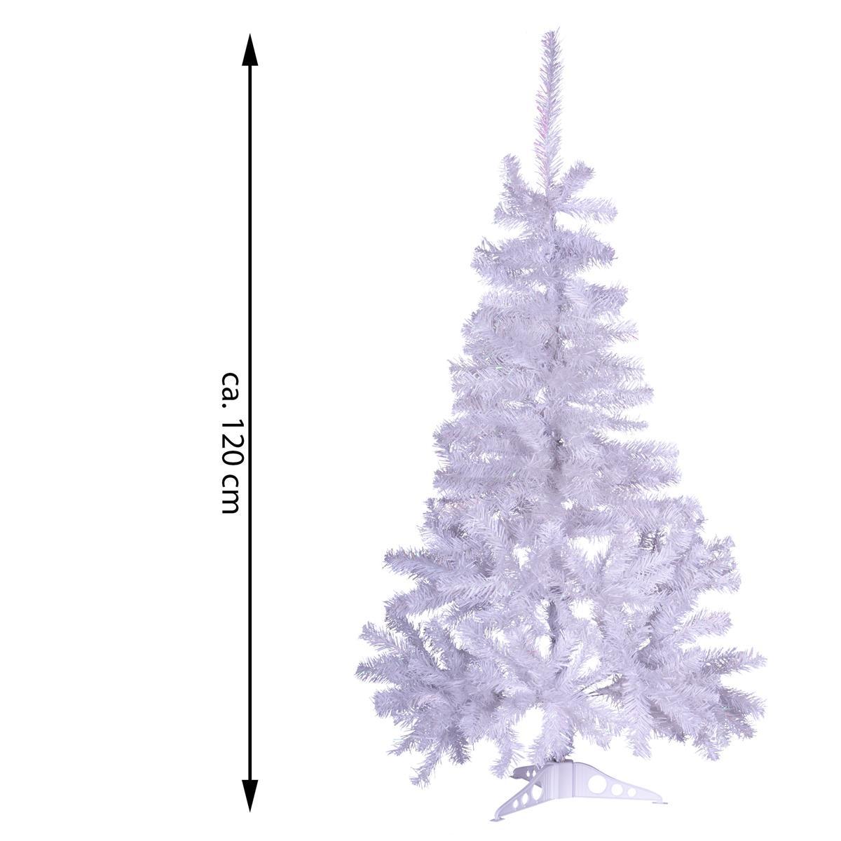 Durchmesser Weihnachtsbaum.Weihnachtsbaum Weiß Mit Glitzereffekt 120 Cm Christbaum Mit