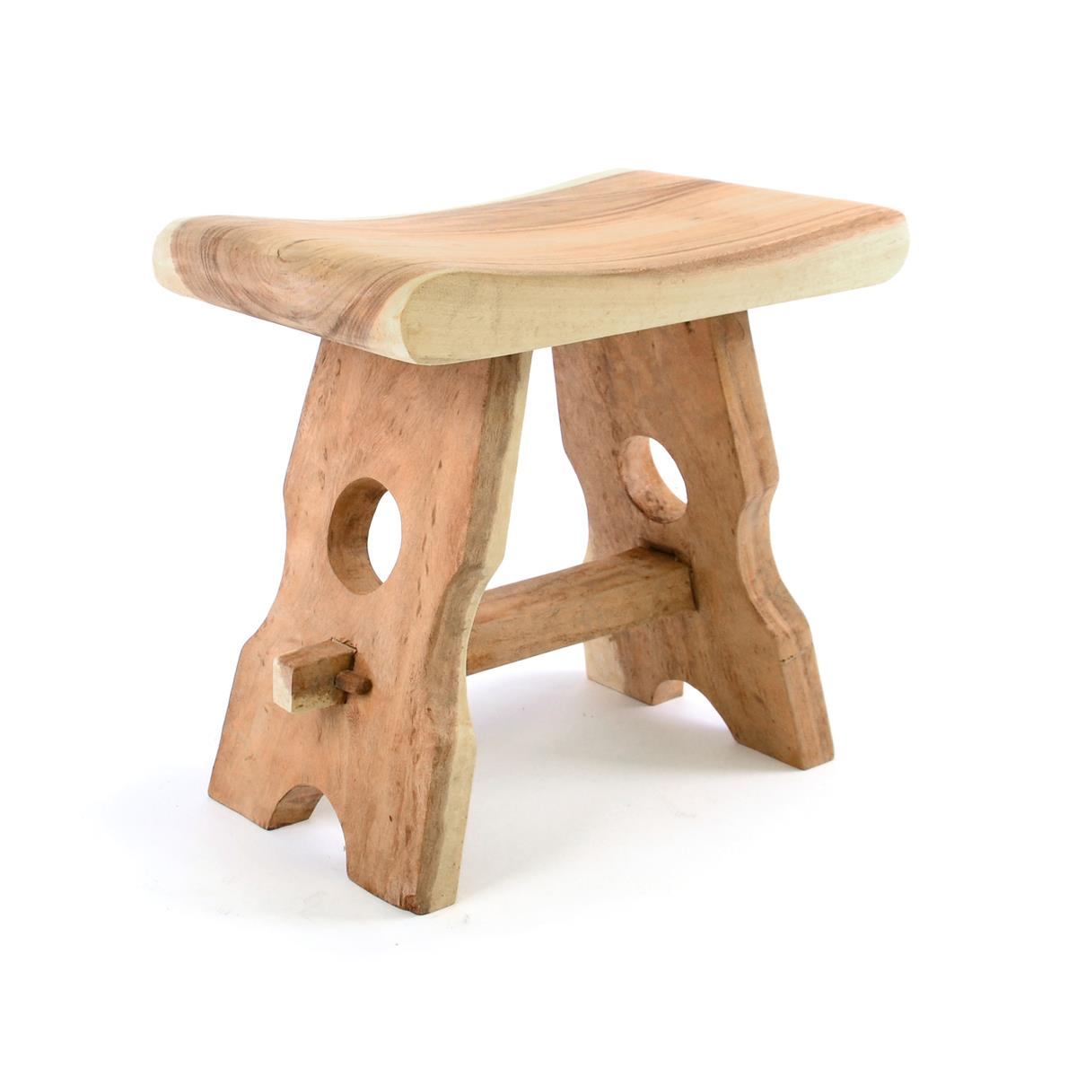 DIVERO Hocker aus Suar Holz unbehandelt massiv Handarbeit Landhausstil natur